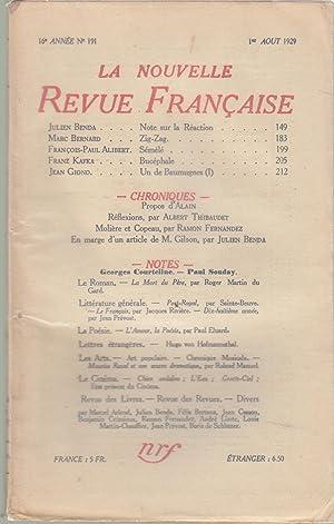 La Nouvelle Revue Française - 16e année: Julien Benda, Marc