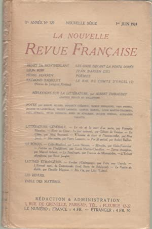 La Nouvelle Revue Française - 11e année: Henry de Montherlant,