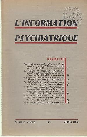 L'information Psychiatrique - 34e année - 4e: Henri Ey, G.