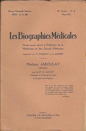 Les Biographies Médicales : Mathieu Jabouley (1860-1913): G. Gayet