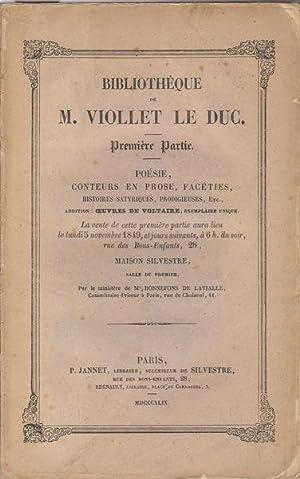 Bibliothèque de M. Viollet le Duc- Première: VIOLLET LE DUC]