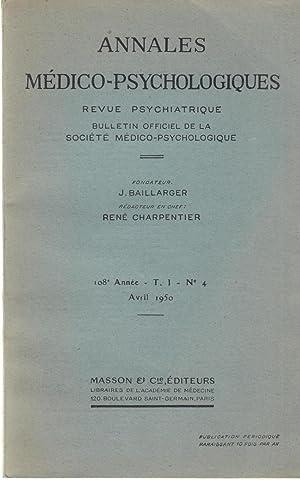 Annales Médico-Psychologiques - Revue Psychiatrique - Bulletin: Boisseau, Diel, Alves