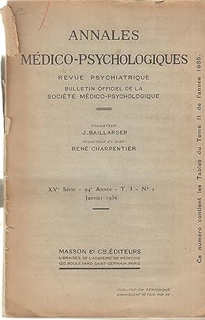 Annales Médico-Psychologiques - Revue Psychiatrique - Bulletin: L. Van Bogaert,