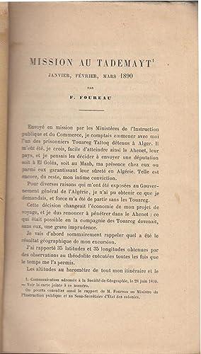 Une mission au Tademayt (Territoire d'In-Salah) en: F Foureau