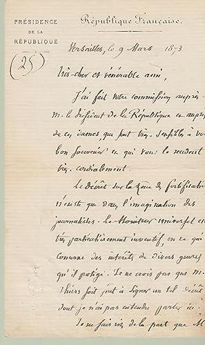 Lettre autographe signée de Albert Geoffroy Saint-Hilaire: Albert Geoffroy Saint-Hilaire