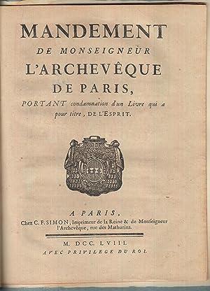 Mandement de Monseigneur l'archevêque de Paris, portant: Helvétius] Christophe de