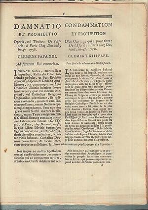 Damnatio et prohibitio operis cui Titulus : Condamnation par le