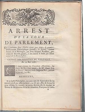 Arrest de la cour de Parlement qui: Condamnation des Lettres