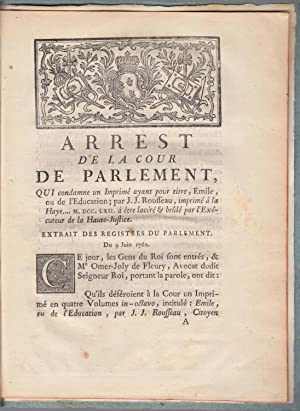 Arrest de la Cour de Parlement : L'Emile de Rousseau