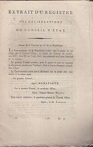Extrait du registre des délibérations du Conseil: Napoleon, Emperor of