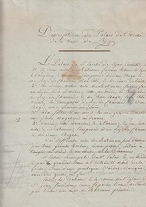 """MANUSCRIT : """"Description du palais de l'Évêché: Le palais archiépiscopal"""