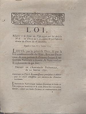 Loi, relative à la forme du Visa: Louis, M.L.F. Du