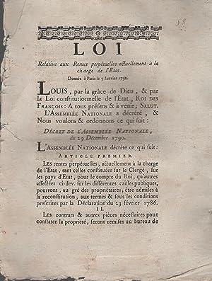 Loi relative aux Rentes perpétuelles actuellement à: Louis, M.L.F. Du