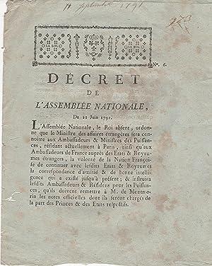 Décret de l'Assemblée Nationale, du 21 Juin: M.L.F. Du Port,