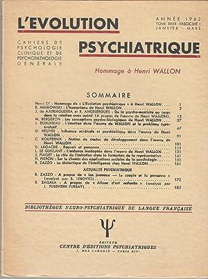 L'Évolution Psychiatrique - Cahiers de Psychologie clinique: Henri Ey, E.