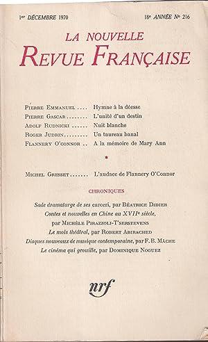 La Nouvelle Revue Française, N° 216, décembre: Pierre EMMANUEL, Pierre
