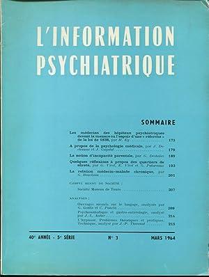 L'Information Psychiatrique. - 40° Année - 5°: Henri Ey, J.