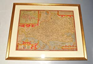 Dorsetshyre. Original engraved antique map of Dorset. With the Shyre town Dorchester described as...