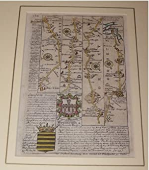 Original engraved map: strip road map of DORSETSHIRE / HAMPSHIRE: CRANBORN - DUNKTON - BLANDFORD ...