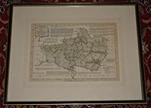 Original Hand Coloured Engraved Antique Map of  Dorsetshire Divided into Hundreds  Containing the...