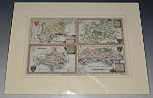 Four Maps on One Plate. A New Map of Dorsetshire, Middlesex, Surrey, Sussex. Drawn from the Lates...