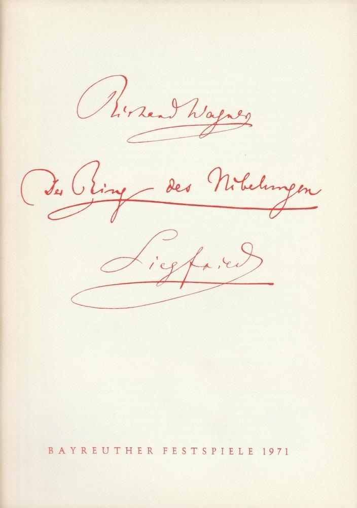 Programmheft Siegfried Bayreuther Festspiele 1971: Bayreuther Festspiele, Festspielleitung