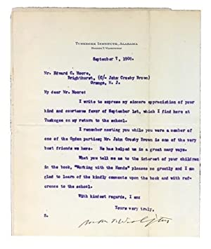 Typed Letter, Signed, to Edward C. Moore, dated Sept. 8, 1908