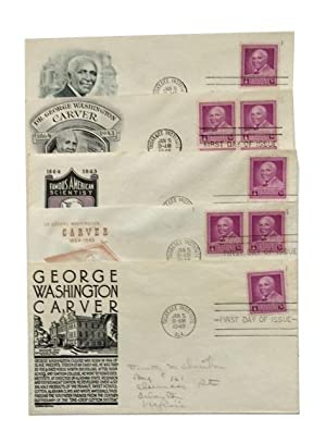 Five First-Day Covers of the 1948 George Washington Carver Stamp