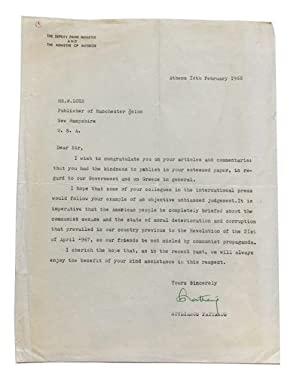 Typed Letter, signed. Dated Feb. 14, 1968. Addressed to W. Loeb, publisher of the Manchester Union ...
