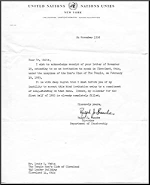 Typed Letter, Signed. Dated November 24, 1952