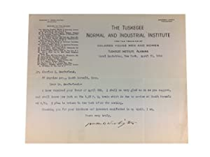 Typed letter, Signed to Dr. Charles S.Macfarland, dated April 20, 1910: Washington, Booker ...
