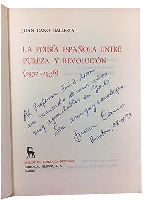 La poesia espanola entre pureza y revolucion (1930-1936): Cano Ballesta, Juan