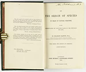 On the Origin of Species by Means: DARWIN, Charles (1809-1882)