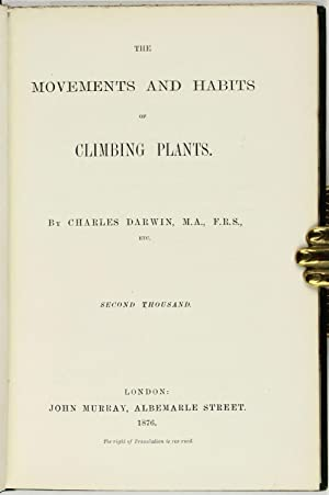 The Movements and Habits of Climbing Plants: DARWIN, Charles (1809-1882)