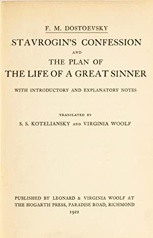 The Possessed] Stavrogin's Confession and The Plan of The Life of a Great Sinner: WOOLF, ...