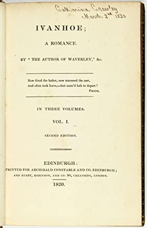 """Ivanhoe; A Romance. By the author of """"Waverley,"""" &c: SCOTT, Sir Walter]"""