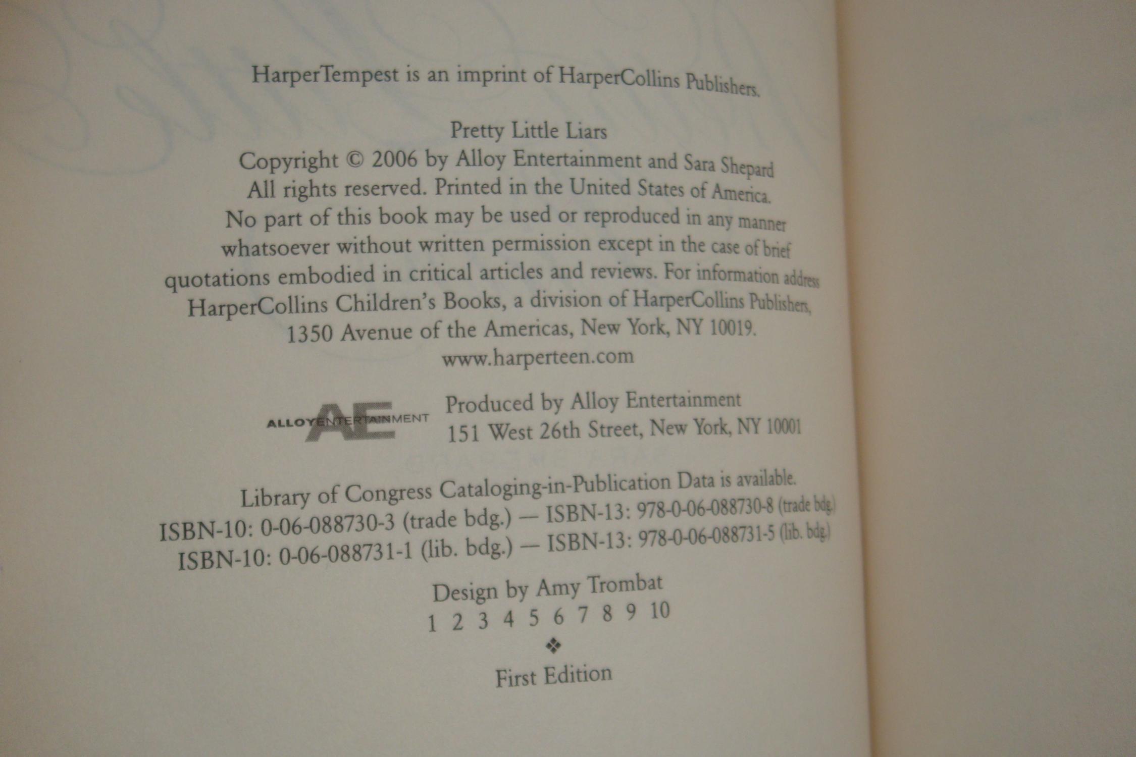 pretty little liars 1st printing by shepard sara harper tempest