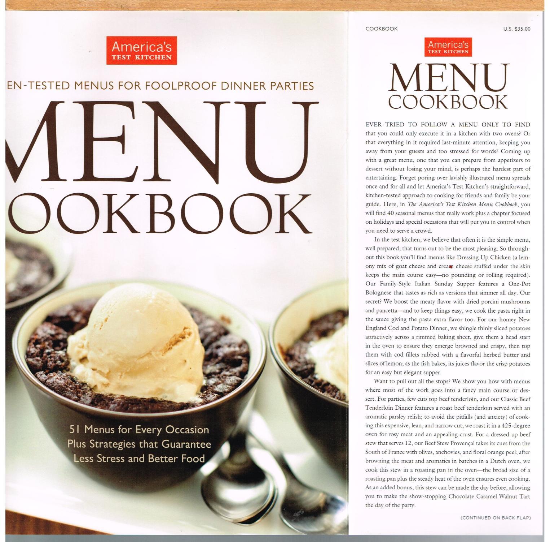 AMERICA\'S TEST KITCHEN MENU COOKBOOK; Kitchen-Tested Menus for ...