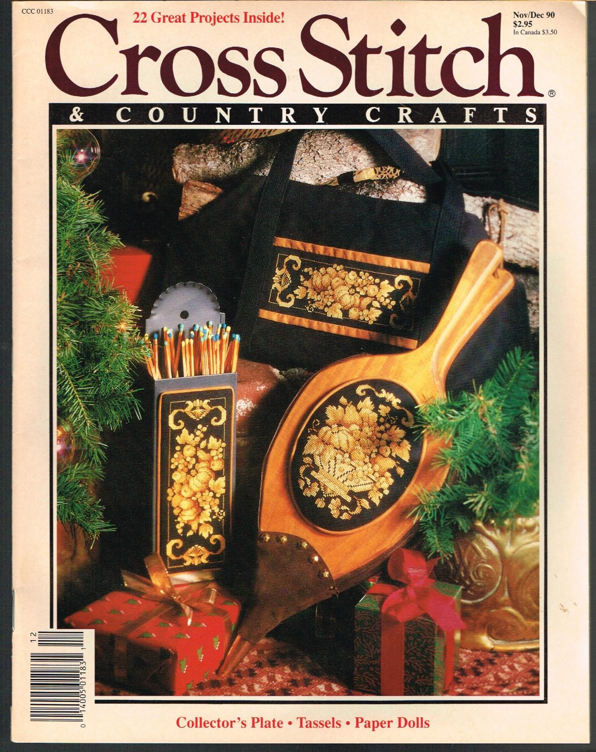 CROSS STITCH /& COUNTRY CRAFTS Magazine Back Issue Nov Dec 1990 90  22 projects