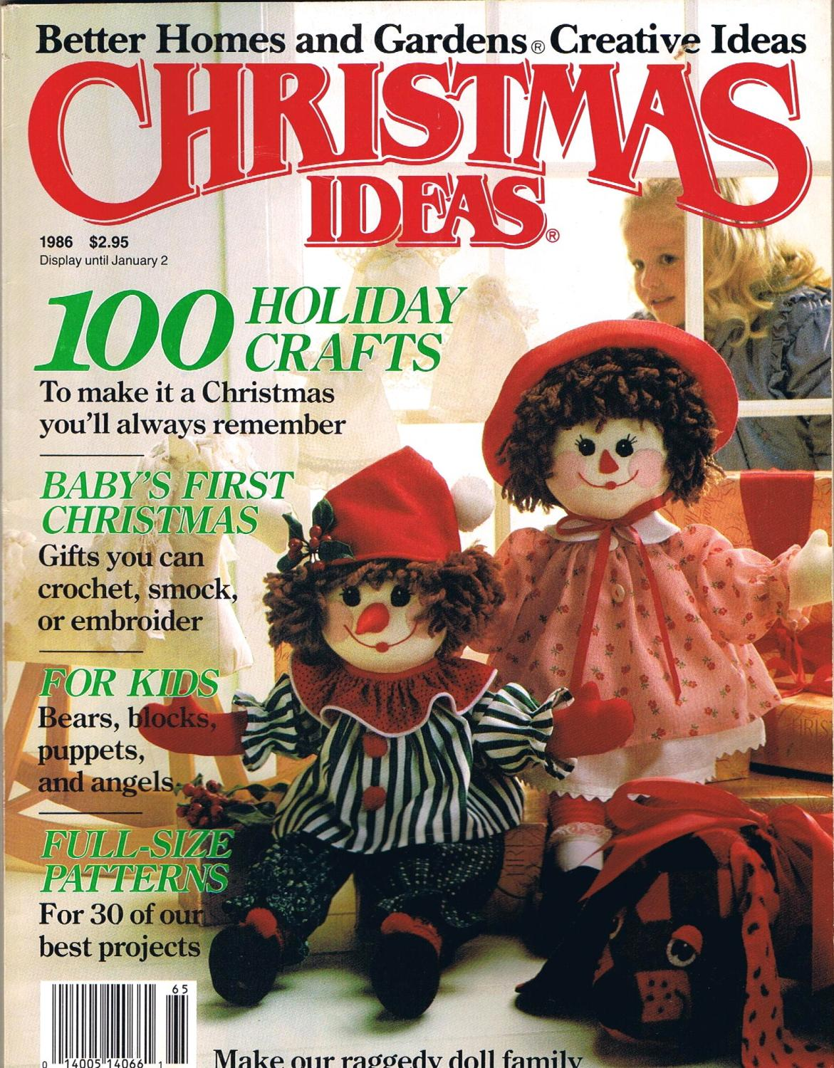 CHRISTMAS IDEAS, 1986, 100 Holiday Crafts; Better Homes and Gardens ...
