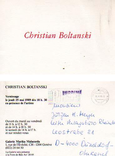 Galerie Marika Malacorda, Geneve, du 14 au 19 juin 1989. [Einladungskarte].