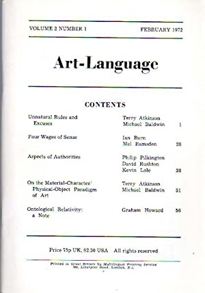 Art-Language. Volume 2, Number 1, February 1972.: Art & Language: