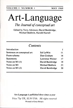 Art-Language. The Journal of conceptual art. Edited by Terry Atkonson, David Bainbridge, Michael ...