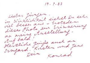 Handschriftliche Briefkarte.: Klapheck, Konrad:
