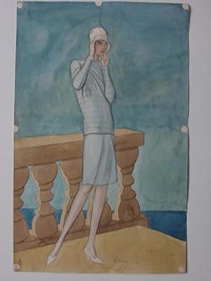 Modezeichnung. Junge Dame in Sommerkleidung. Bleistift und Aquarell.: Pohl, Hanna: