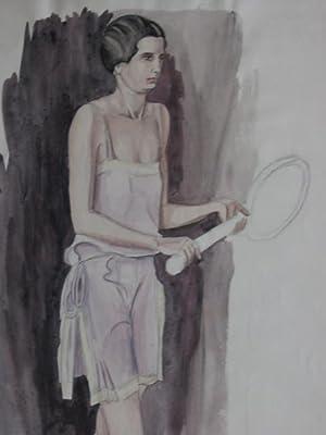 Modezeichnung. Junge Dame in sportlicher Tenniskleidung. Bleistift und Auqarell.: Pohl, Hanna: