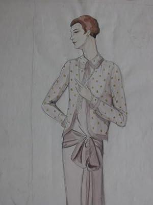 Modezeichnung. Dame in häuslicher Kleidung. Bleistift und Aquarell.: Pohl, Hanna: