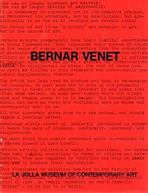 La Jolla Museum of Contemporary Art. November 5 - December 5, 1976.: Venet, Bernar: