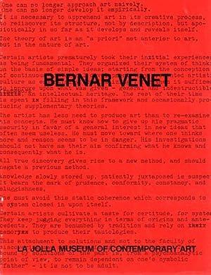 La Jolla Museum of Contemporary Art. November 5 - December 5, 1976.: Venet, Bernar: