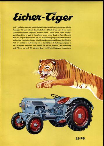 eicher tiger prospekt 1965 von gebr eicher traktoren und landmaschinen werke forstern. Black Bedroom Furniture Sets. Home Design Ideas